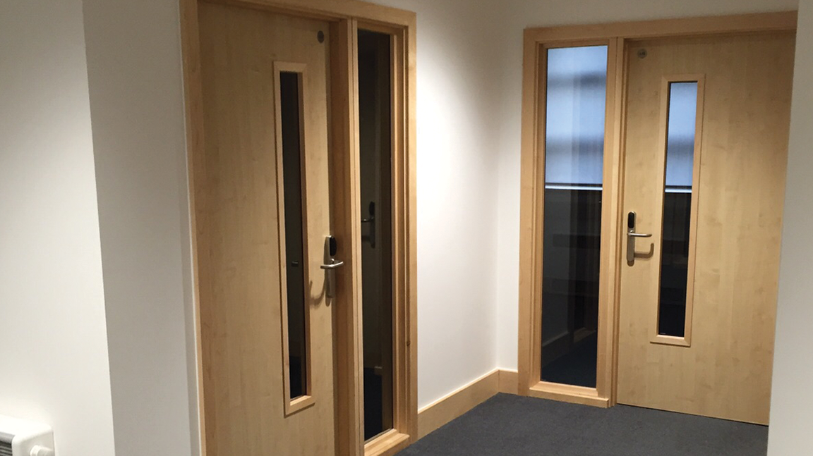 Internal fire doors with vision panels